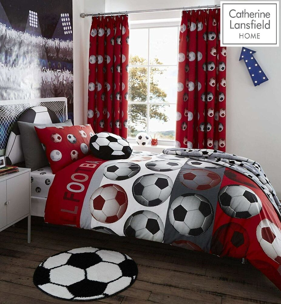Catherine Lansfield Kids Girls Boys Tape Top Pair Fully: Catherine Lansfield Football Red Duvet Cover Set Fitted