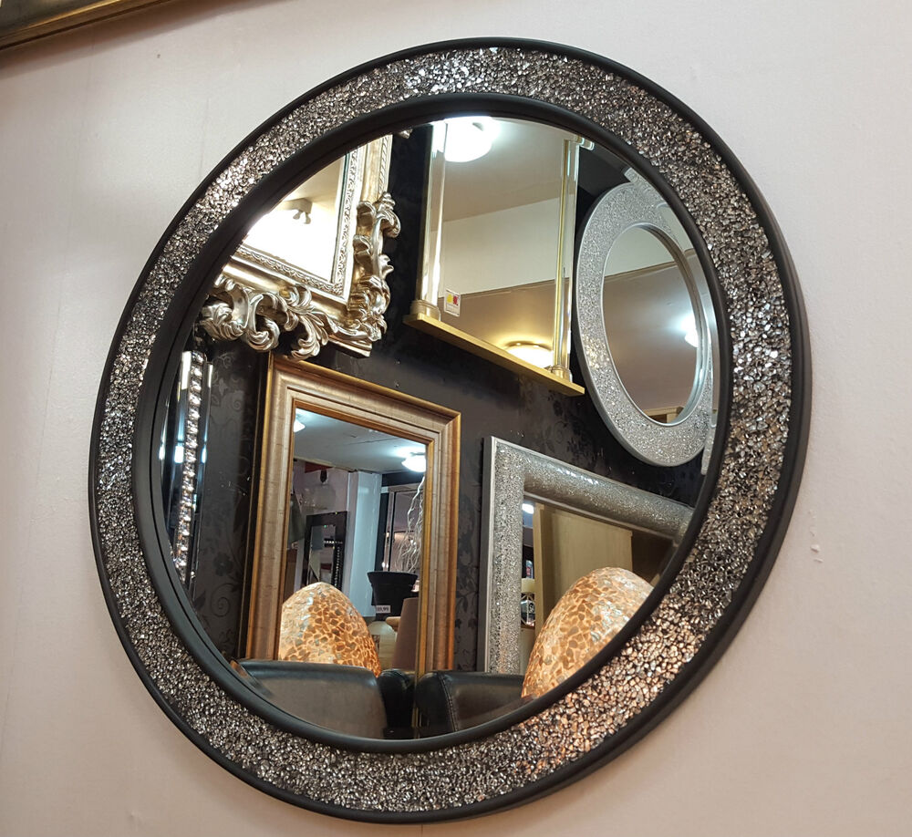 round crackle design wall mirror flat frame mosaic glass 80cm handmade black ebay. Black Bedroom Furniture Sets. Home Design Ideas