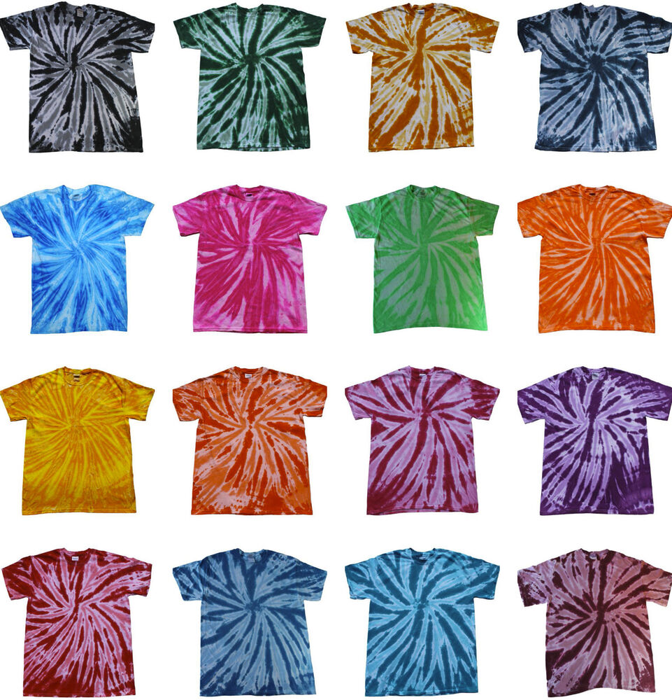 Tie dye t shirts new multi colors twist variation size youth xs to adult 3xl ebay - Tie and dye colore ...