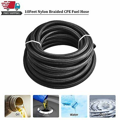 10 Feet Black AN10 Nylon And Stainless Steel Braided Fuel Oil Gas Line Hose 10AN