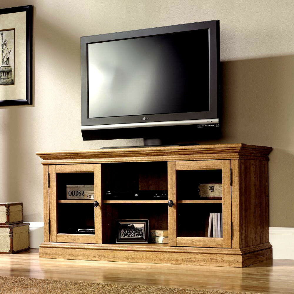 new oak television tv stand flat screen 52 inch entertainment center us stock ebay. Black Bedroom Furniture Sets. Home Design Ideas