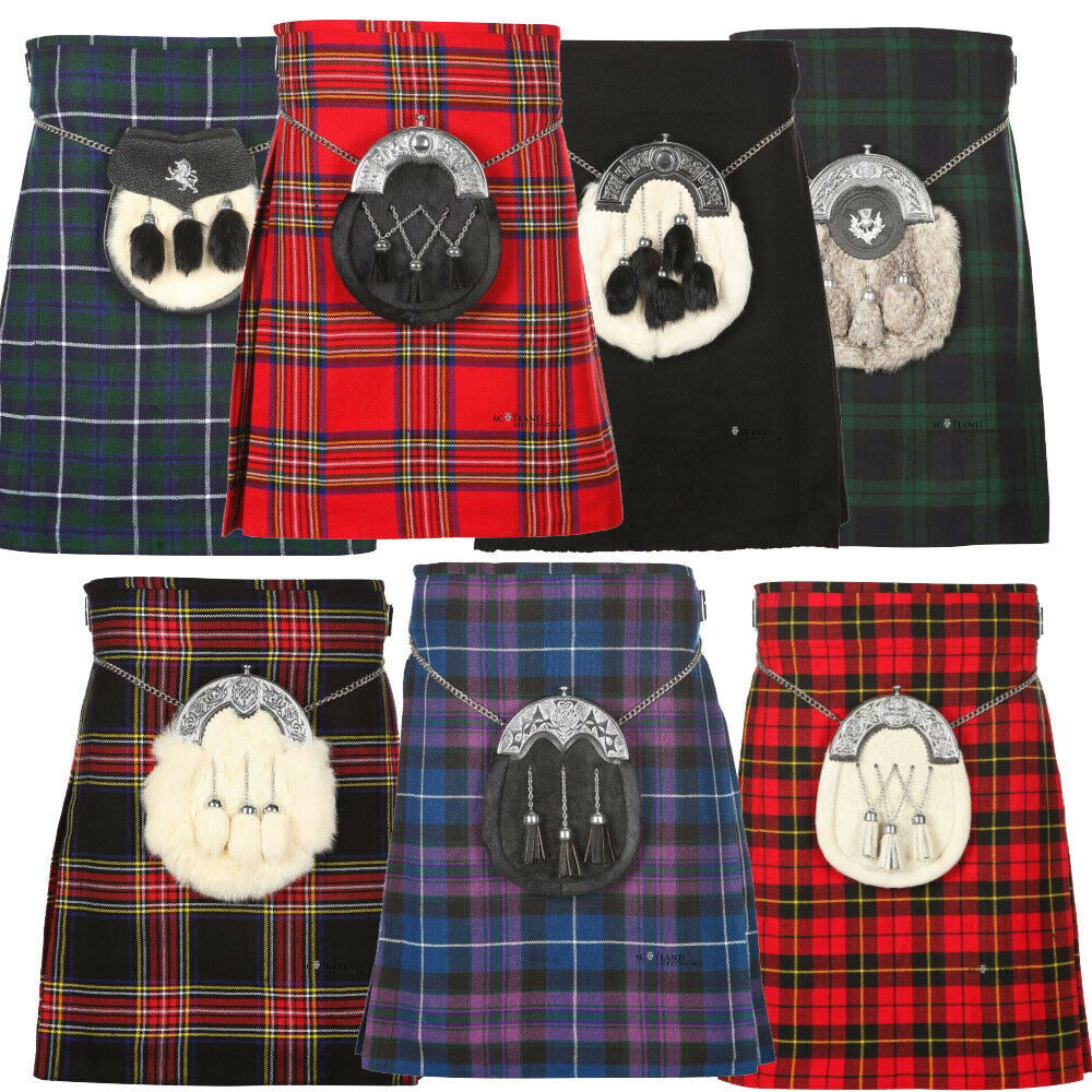 0a949b5dc644 Details about Scottish Men All Kilts 5 yard Tartan Kilts Traditional Highland  Dress 13oz Kilt