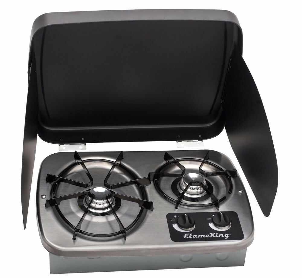 Lp Gas Drop In 2 Burner Rv Cook Top Stove Stainless Steel