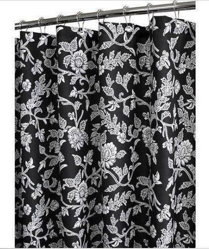 ... SWIRL Flowers Black & Off White Fabric 2 in 1 Shower Curtain | eBay