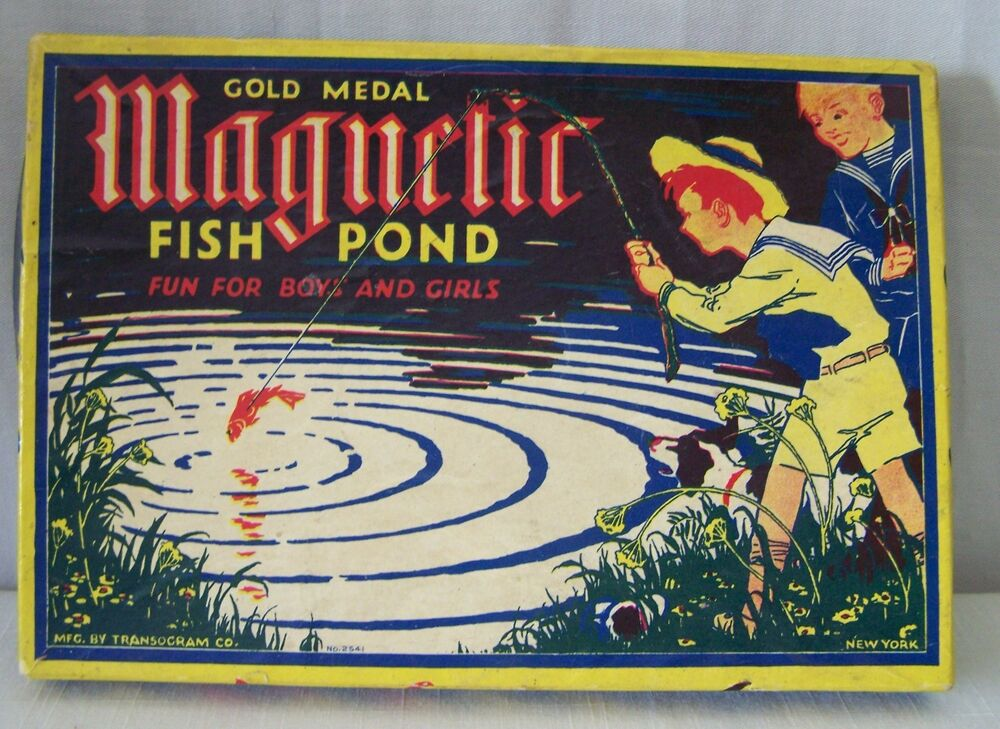 Vintage 1900 39 s gold medal magnetic fish pond game for Koi pond game online