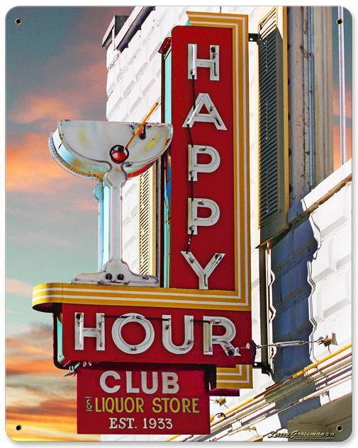 Happy Hour Club Bar Liquor Store Metal Sign Man Cave