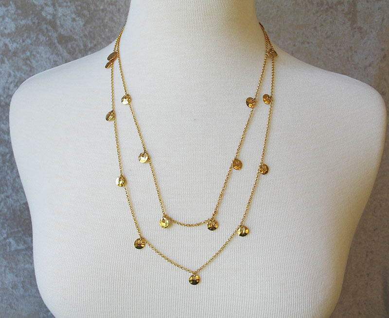 """50"""" LONG GOLD TONE ROUND CHARM LAYERED NECKLACE"""