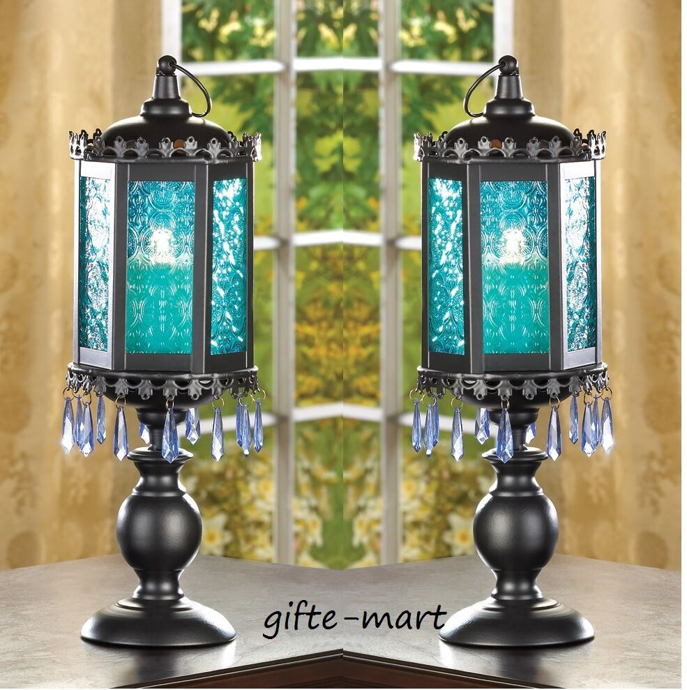 "Buy Turin Grande Outdoor Pedestal Lanterns By Norlys: 2 BLUE Moroccan Pedestal Beaded 16"" Candle Holder Lantern"