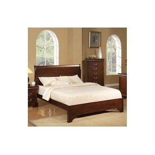 Full Sleigh Bed Frame Wood Headboard Contemporary