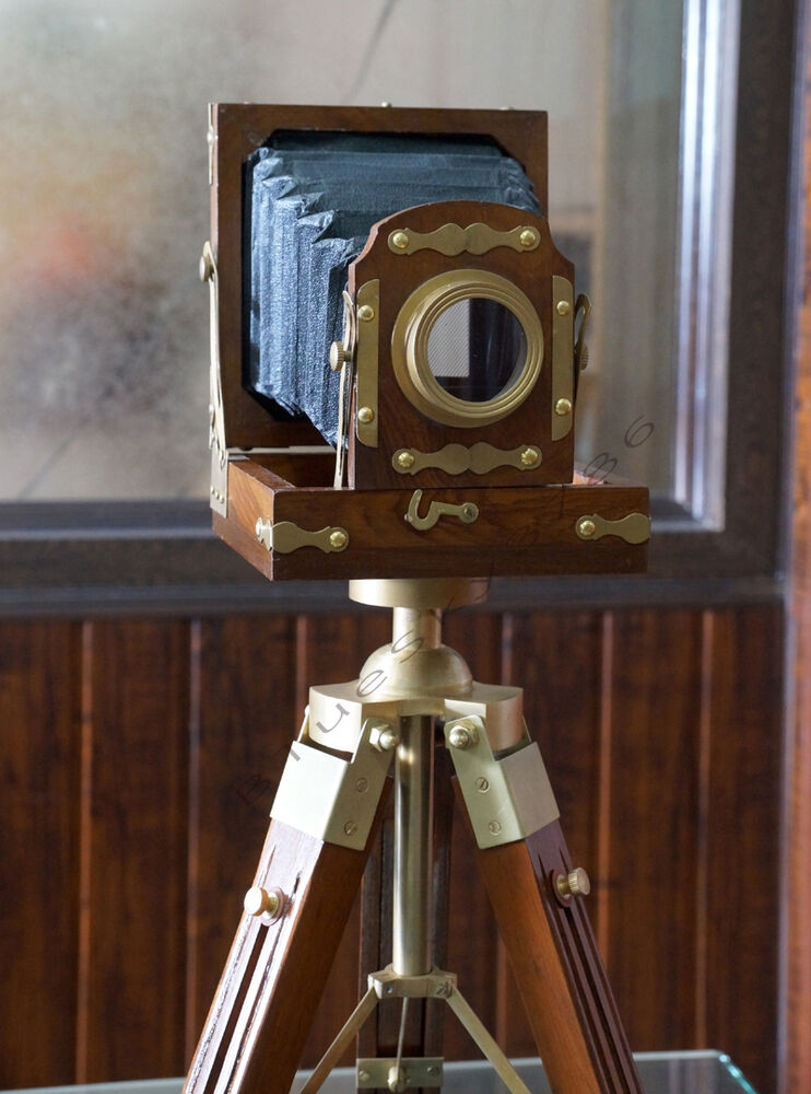 Vintage Designer Wooden folding Camera with Tripod Retro Look ...
