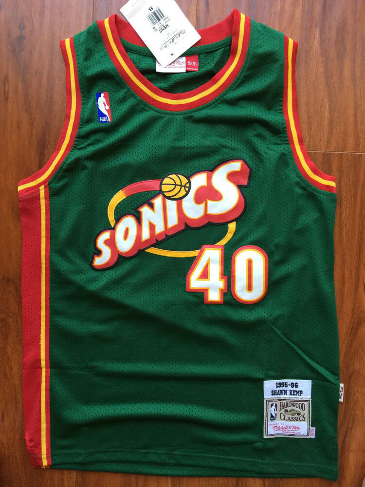 08c13ecb0 NBA Seattle Supersonics Shawn Kemp Throwback Classic Sewn M and N Jersey  NWT