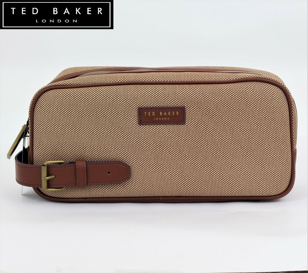 New Ted Baker Mens Canvas Weekend Sports Wash Bag Gym Travel Gift Leather Handle 5045096422058