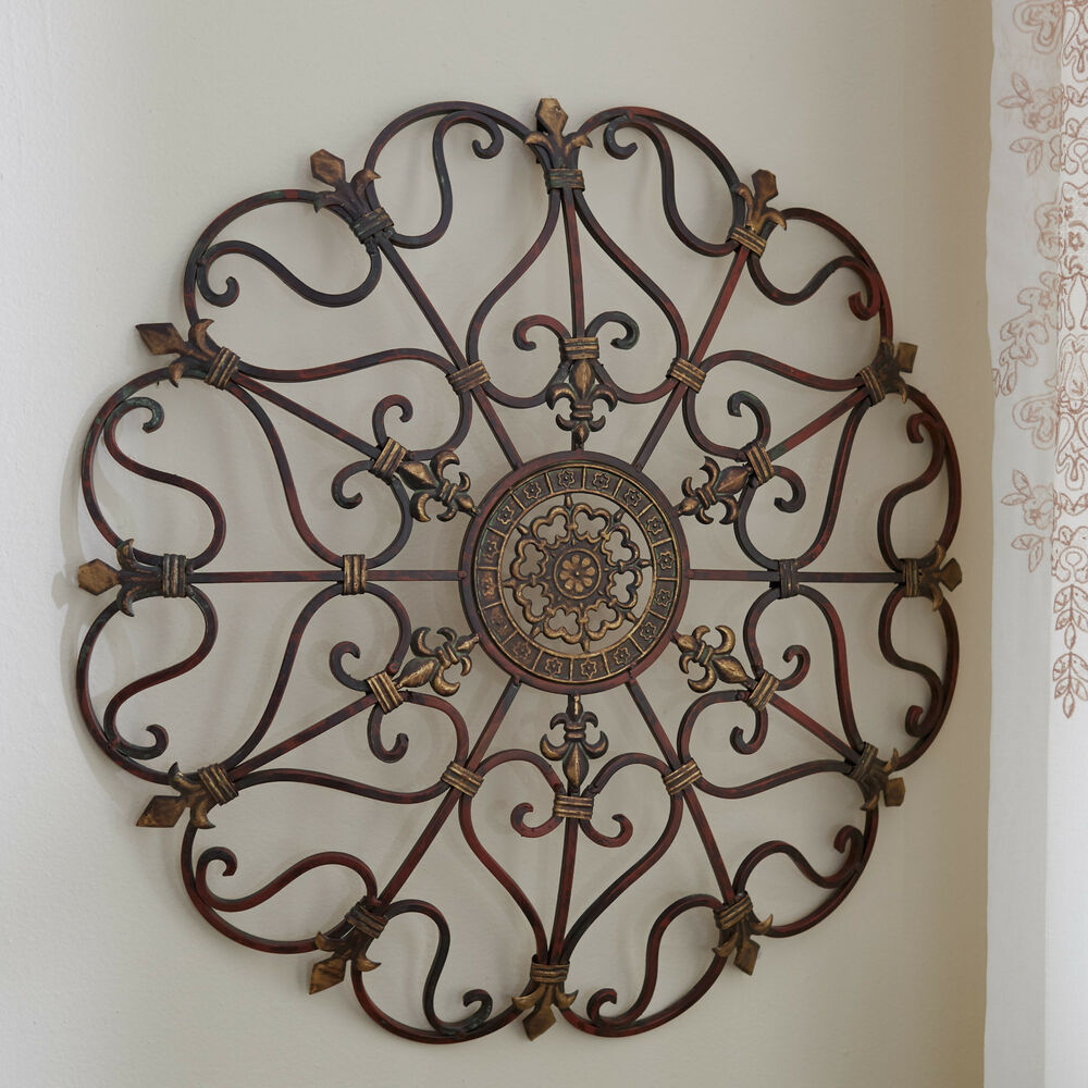 Round Wrought Iron Wall DECOR Scroll Fleur De Lis Antique