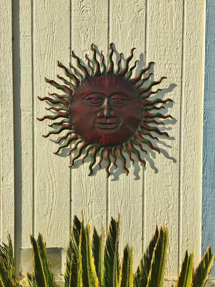 Metal sun wall decor rustic garden art indoor outdoor for Outside wall art