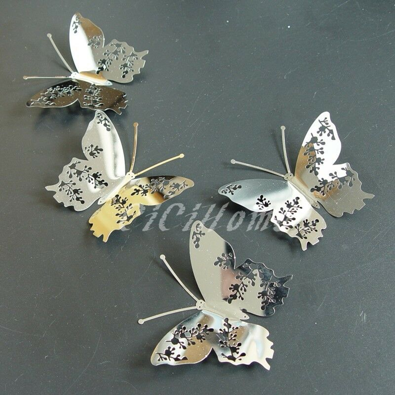 Set8 47 3d butterfly wall decor mirror silver modern for 3d wall butterfly decoration