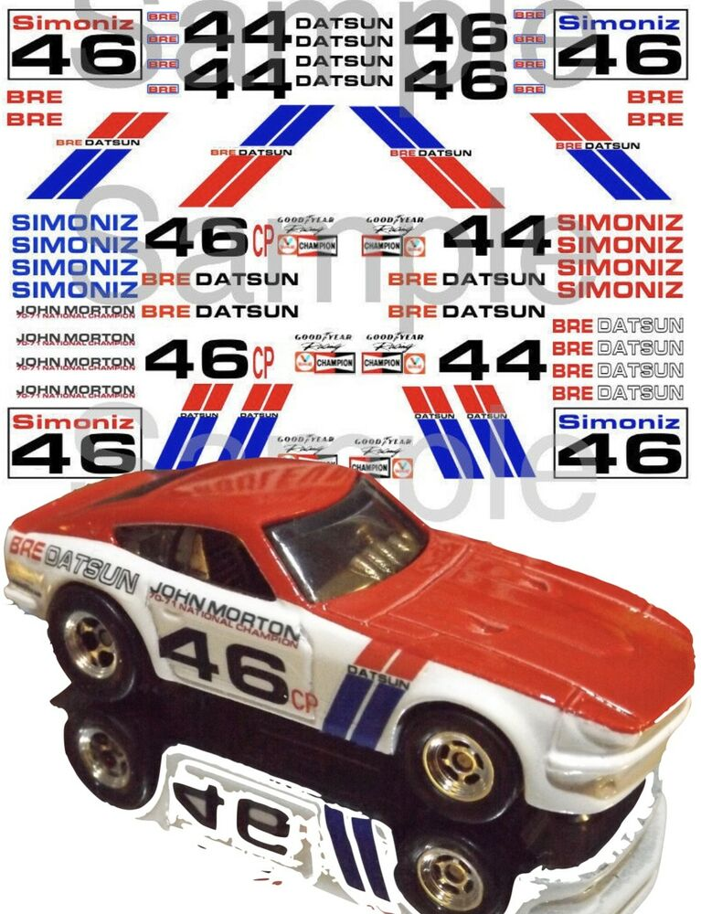 Bre Datsun water-slide decals 1:64 scale Hot Wheels slot ...