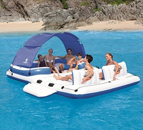 Inflatable Floating Island 6 Person Raft Water Lounge Boat