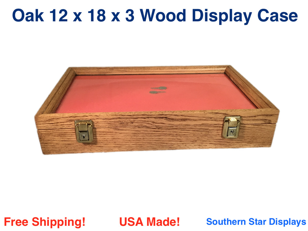 oak wood display case 12 x 18 x 3 for arrowheads knifes collectibles more ebay. Black Bedroom Furniture Sets. Home Design Ideas