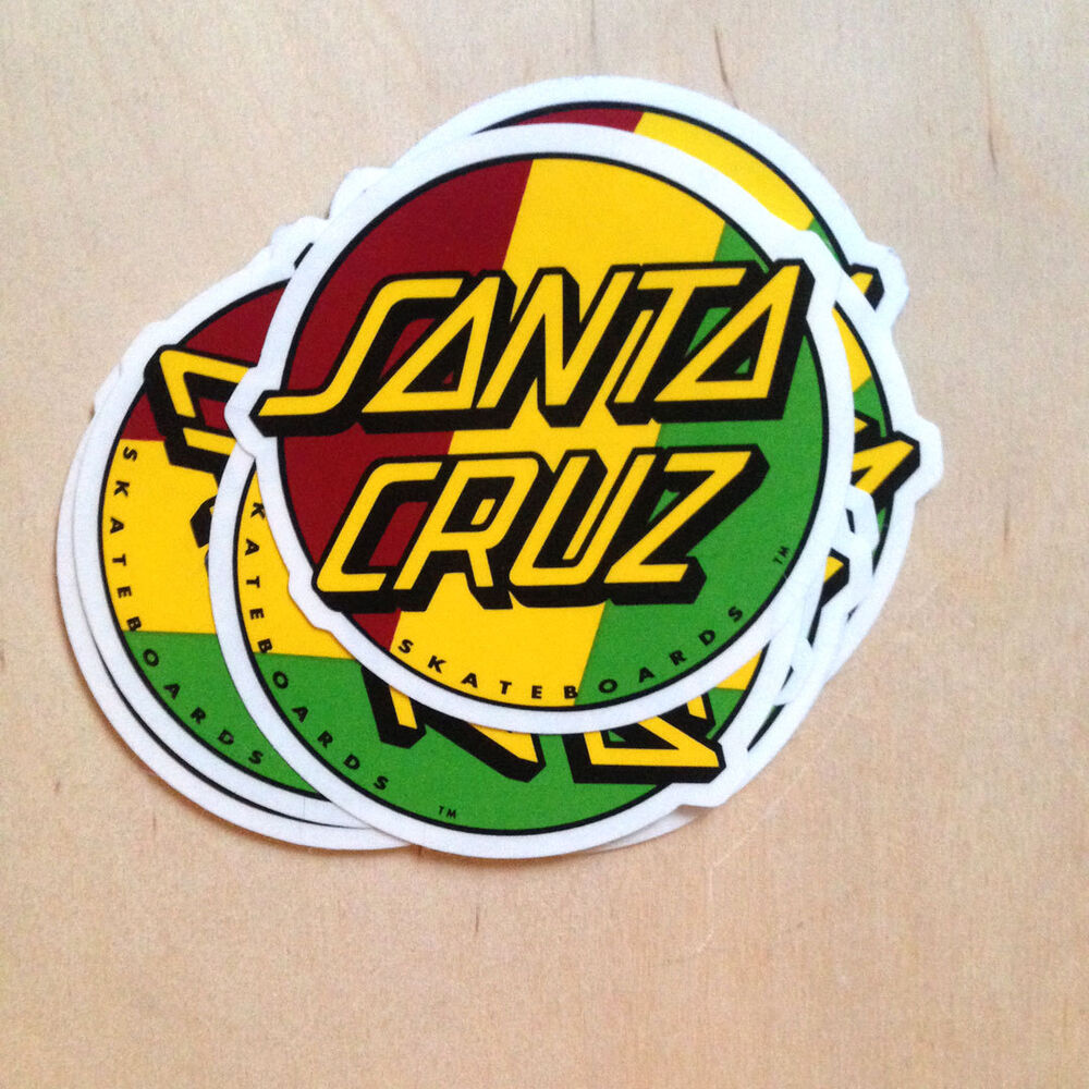 Details about santa cruz rasta dot logo skateboard surf sticker vinyl decal sk8