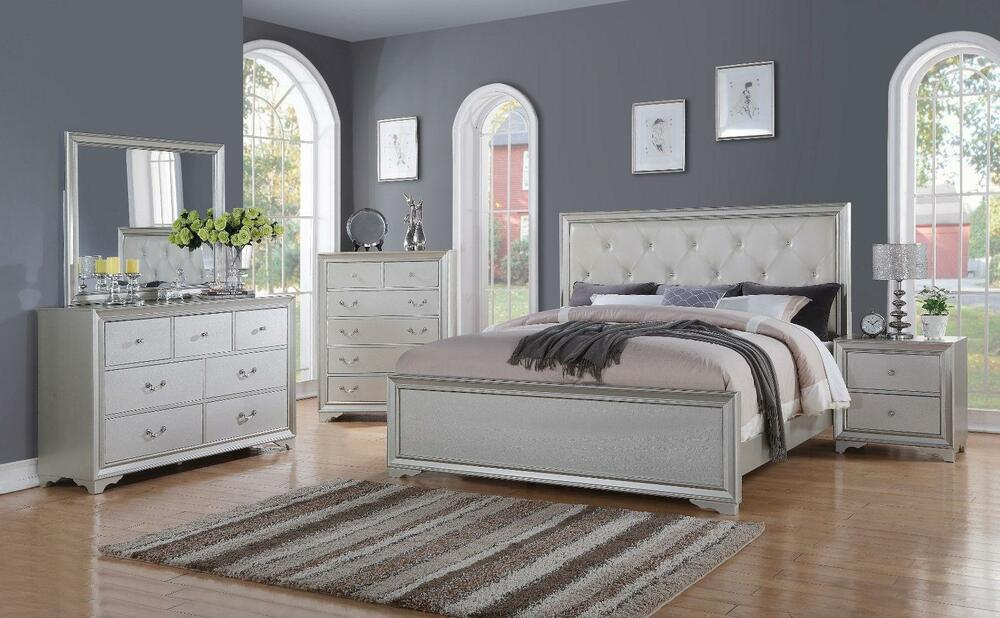 Chic modern rb508 white tufted 5pc queen size contemporary - Queen size bedroom furniture sets ...