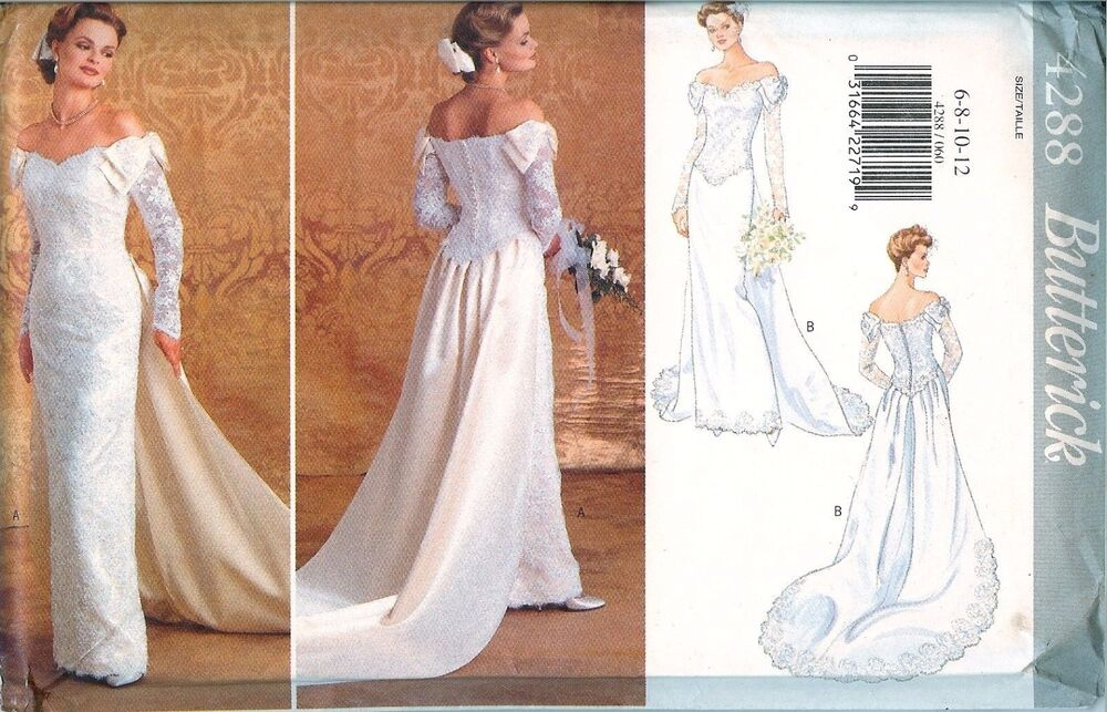Butterick 4288 Wedding Bridal Dress Gown Off Shoulder