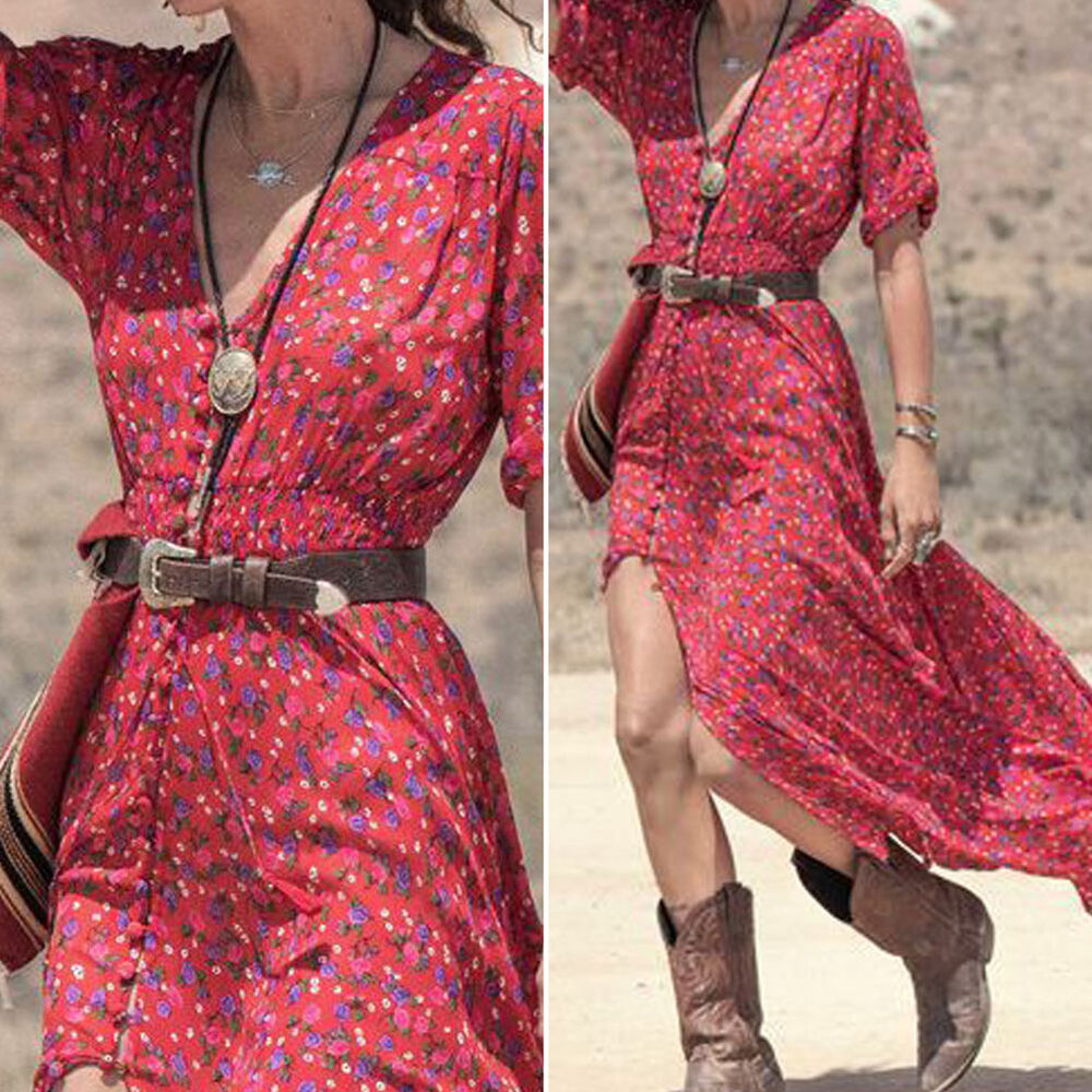 women vintage retro bohemian style boho summer beach party long maxi dress ebay. Black Bedroom Furniture Sets. Home Design Ideas