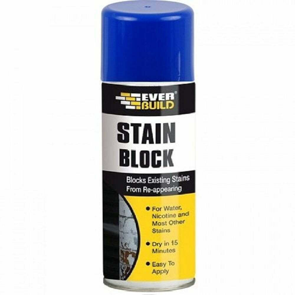 everbuild stain block 400ml spray paint prevents water marks mould. Black Bedroom Furniture Sets. Home Design Ideas