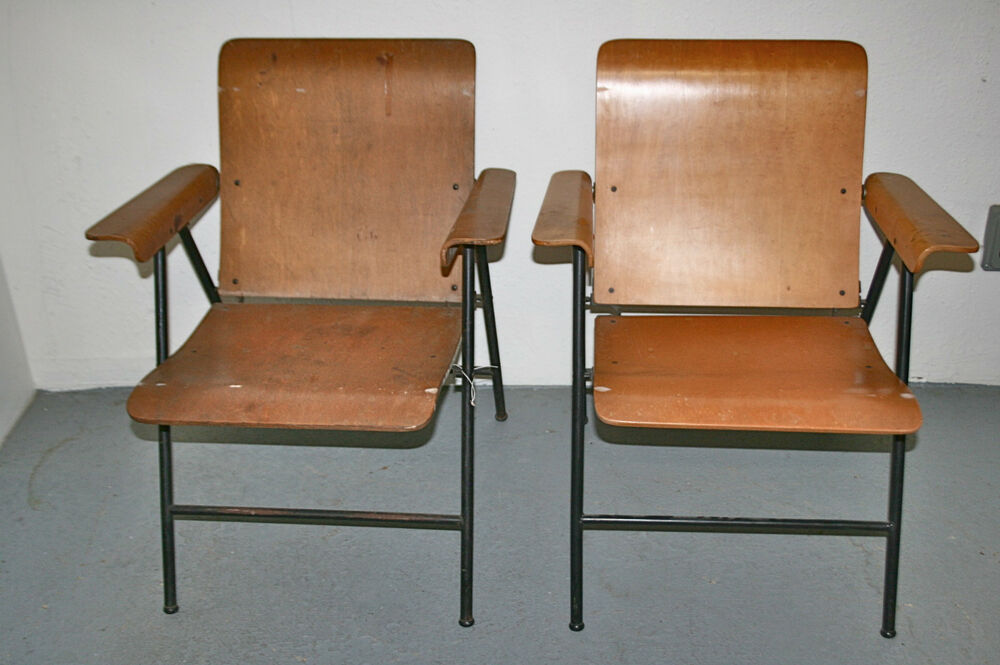 Vintage Russel Wright Samsonite Plywood Folding Chairs Mid