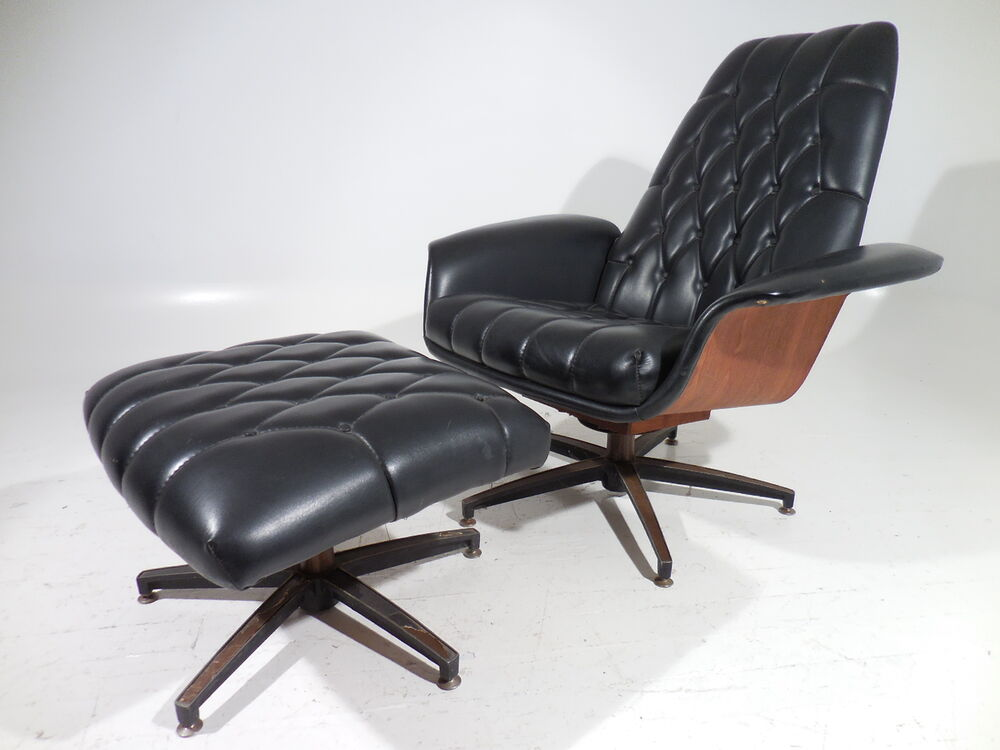 Plycraft mulhauser bentwood lounge chair w ottoman mid century modern eames era ebay - Selig eames chair ...