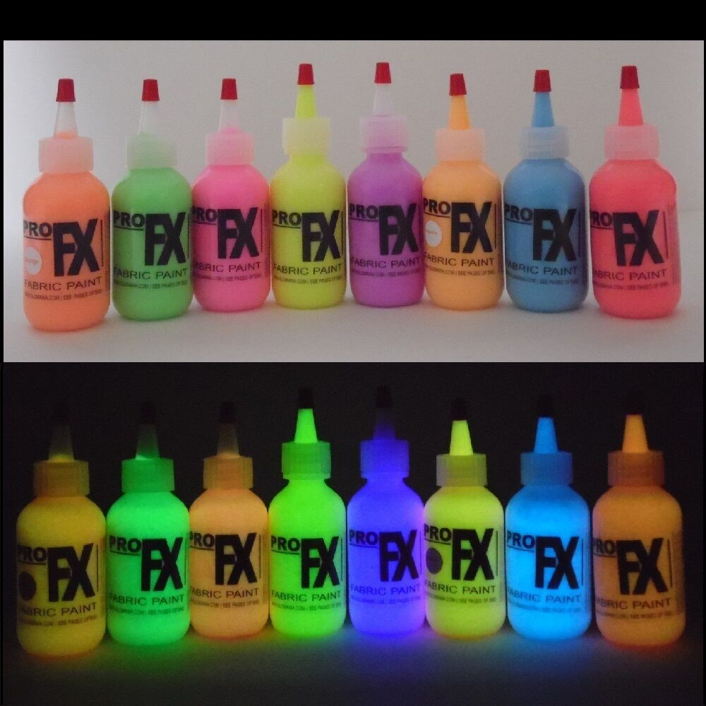 Glow in the dark daytime visible fabric paint 8 color set - Glow in the dark paint colors ...