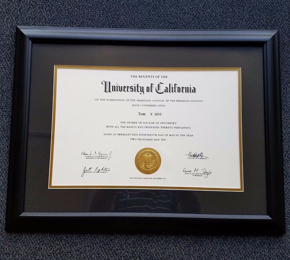 Diploma Certificate Matte Black With Gold Mat Frame Omg1