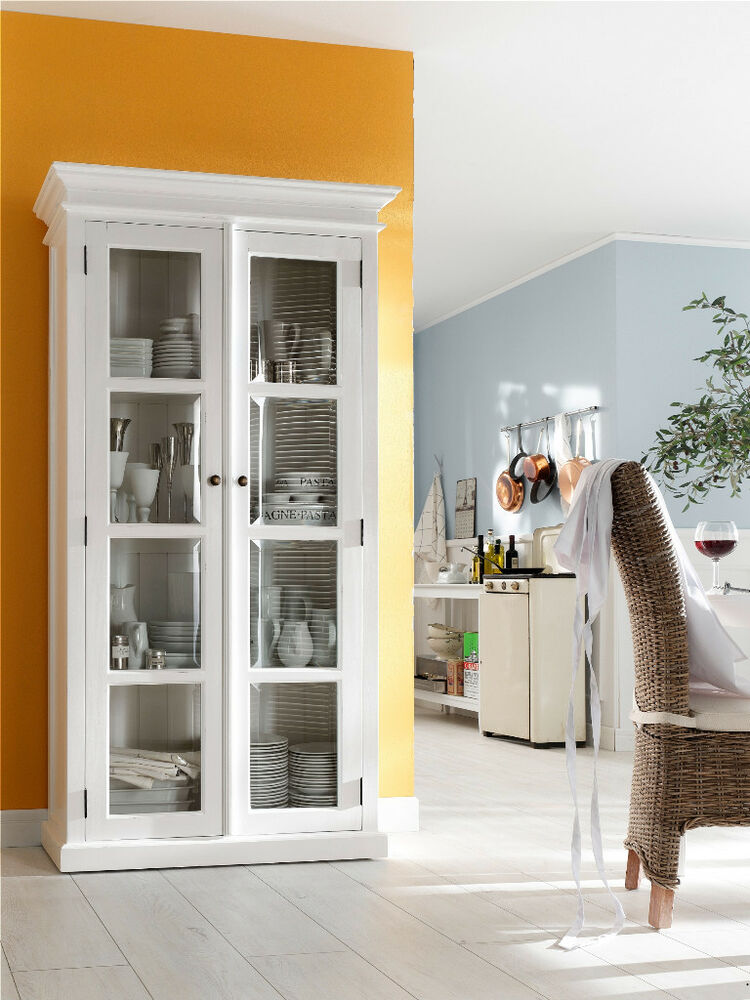 vitrine schrank b cherschrank weiss landhaus landhausstil shabby chic mahagoni ebay. Black Bedroom Furniture Sets. Home Design Ideas