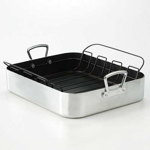 food network 17 in aluminum roaster roasting pan rack ebay. Black Bedroom Furniture Sets. Home Design Ideas