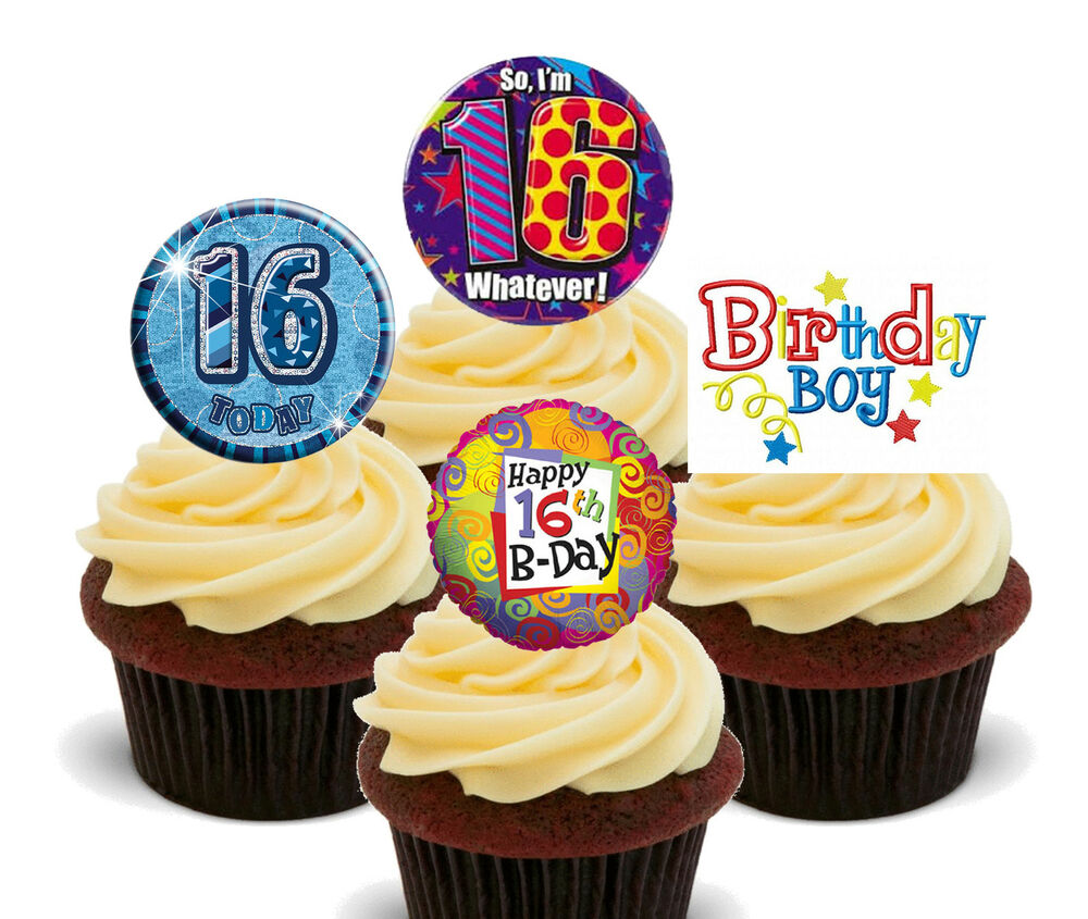 Details About 16th Birthday Boy Edible Cupcake Toppers Stand Up Fairy Cake Decorations Male