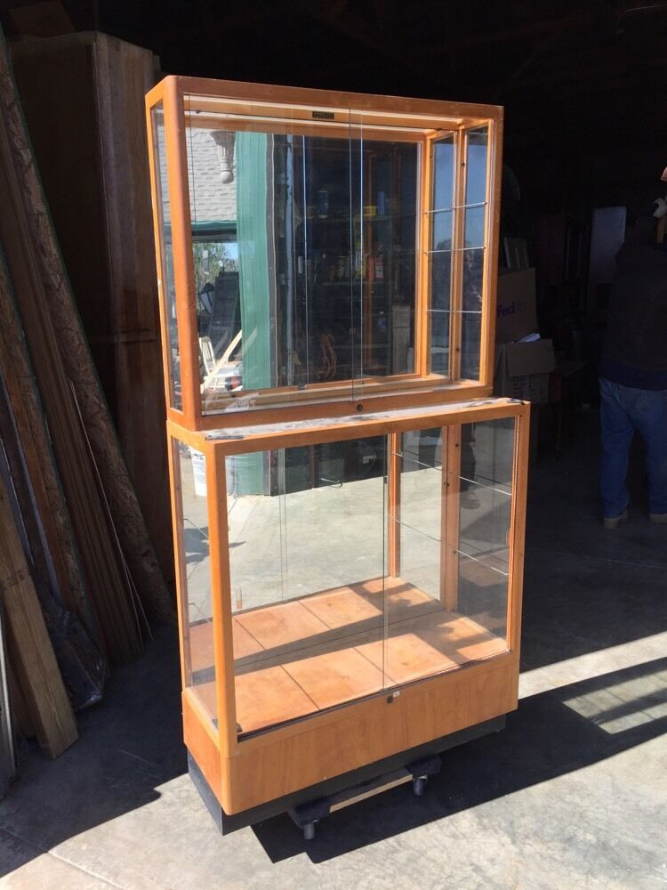Glass Display Cabinet Showcases: Ca 17 Two Available Antique Small Wood And Glass Showcase