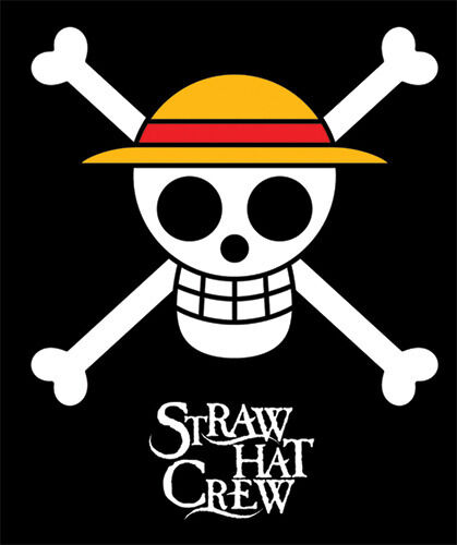 "Official 60"" Straw Hat Pirate Crew Logo Black Throw ... Official One Piece Jolly Rogers"