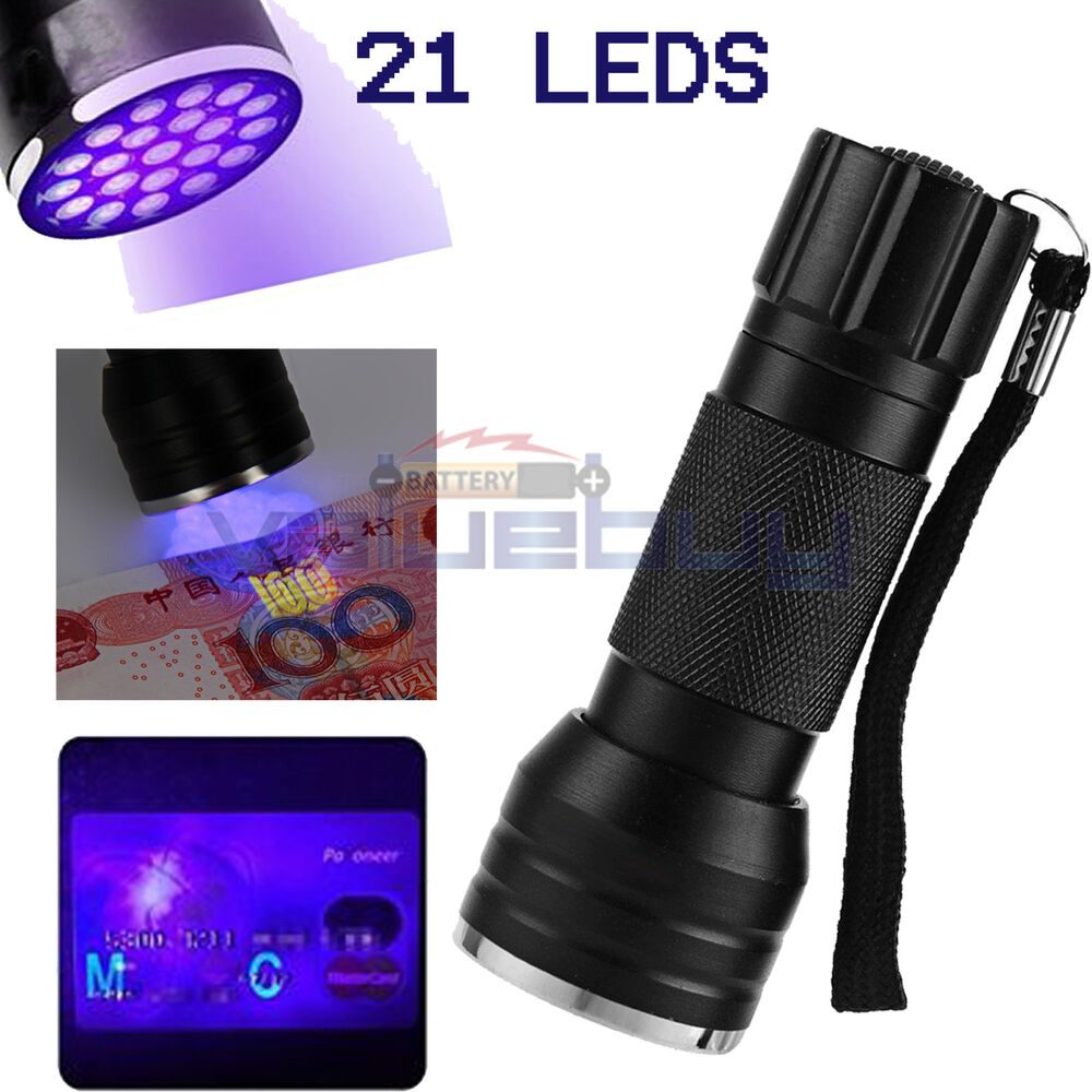 Uv Ultra Violet 21 Led Flashlight Mini Blacklight Aluminum