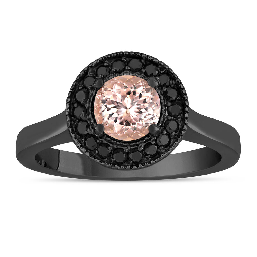Peach Pink Morganite Engagement Ring 14k Black Gold Vintage Style 0 95 Carat