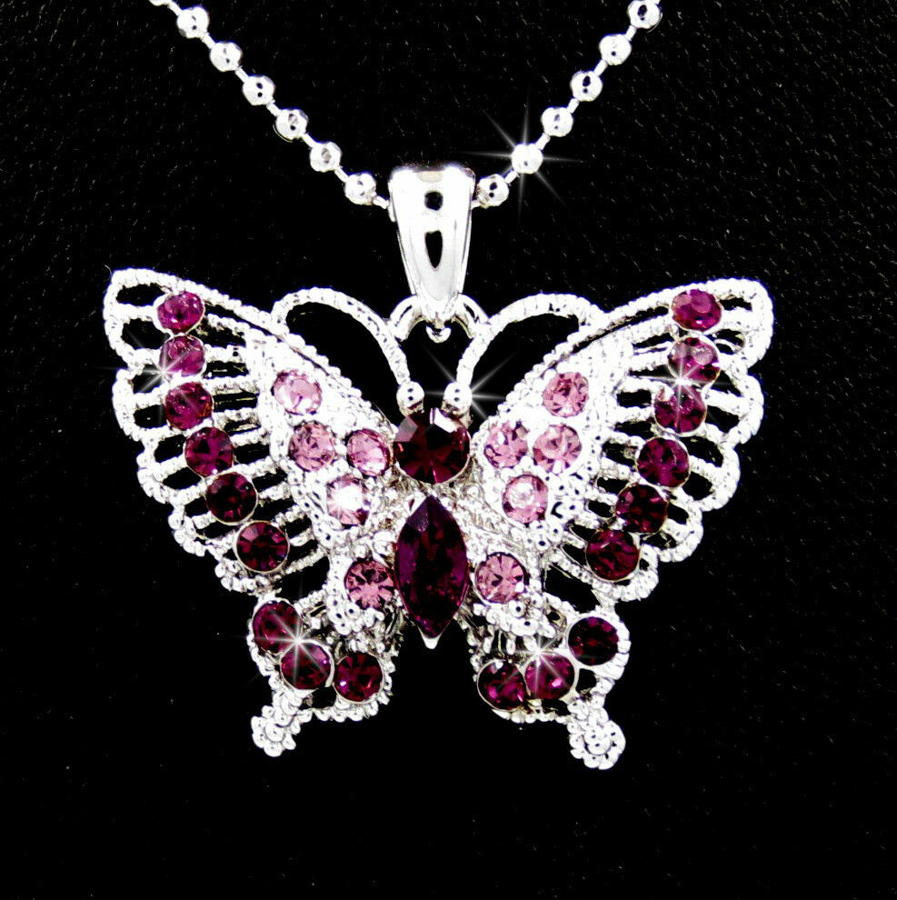 New Purple Butterfly Silver Tone Austrian Crystal Pendant Charm Chain Necklace Ebay