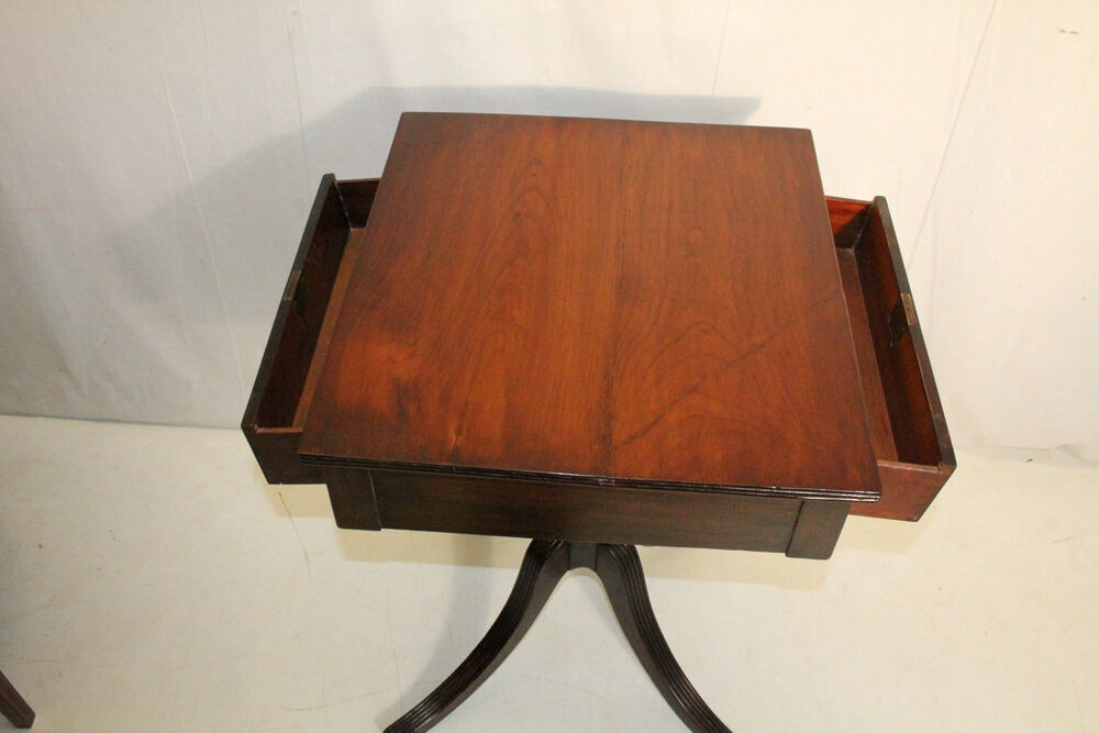 antique federal cherry side end table with two drawers