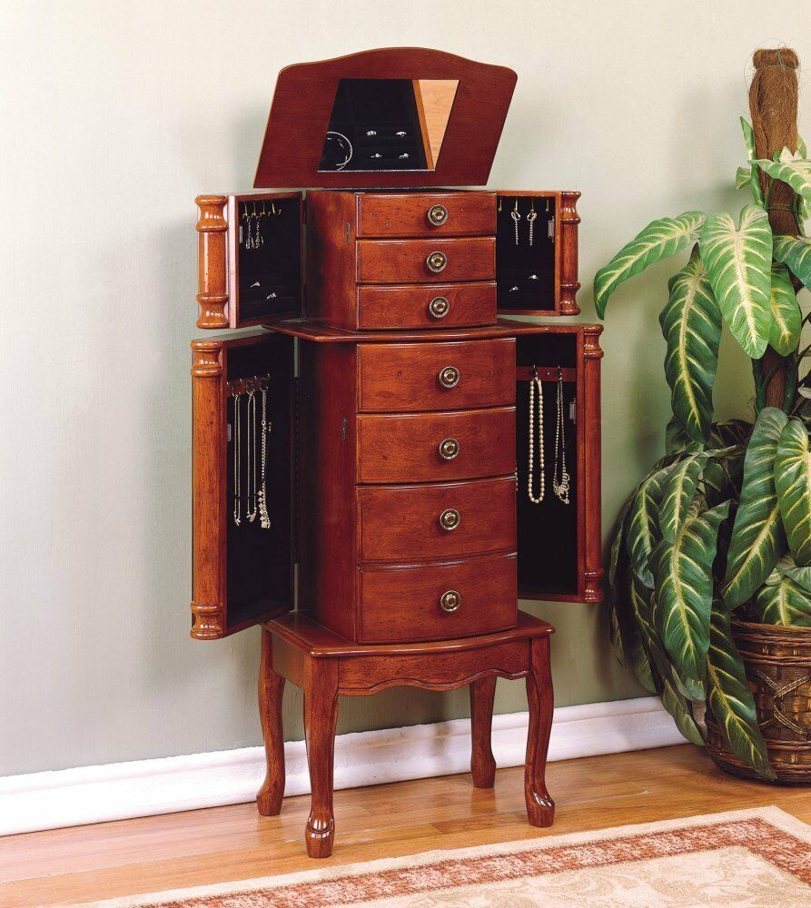powell classic cherry jewelry armoire overpacked top lid lifts open 881 315 new ebay. Black Bedroom Furniture Sets. Home Design Ideas