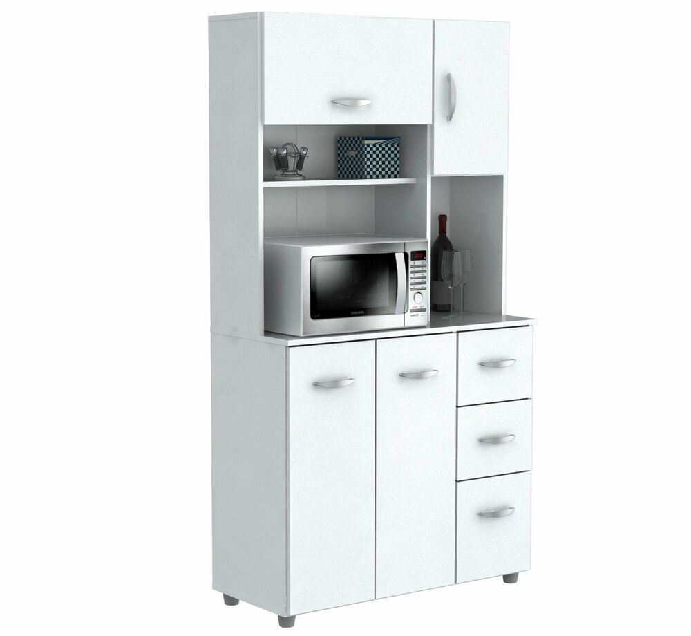 Inval america 4 door storage cabinet with microwave cart laricina white gcm 042 ebay - White kitchen storage cabinet ...
