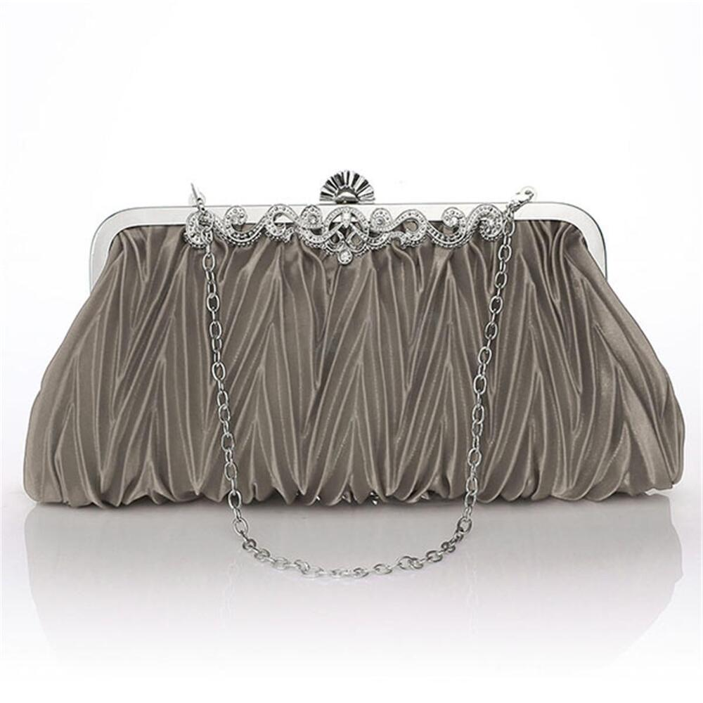 Women Pleated Satin Clutch Wedding Evening Bag Party Bridal Handbag Purse Bags | EBay