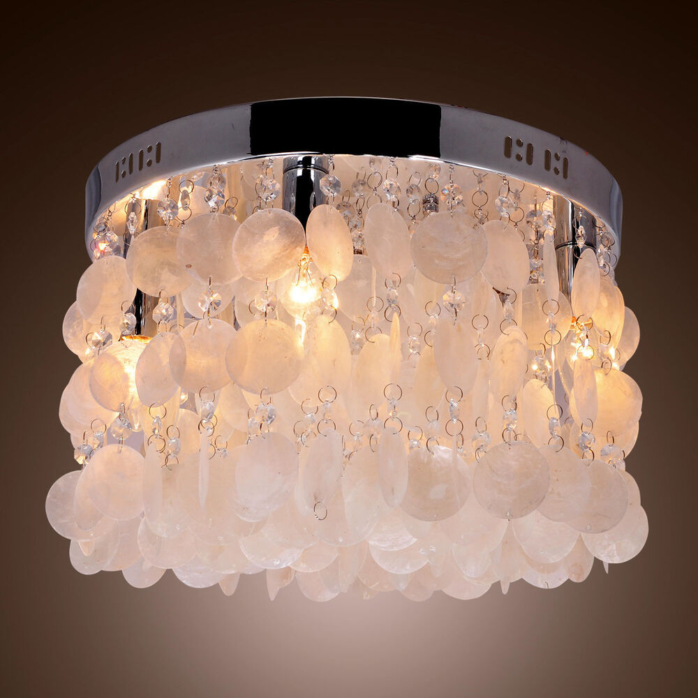 Flush Ceiling Chandeliers: Chrome White Shell Crystal Flush Mount Chandelier Pendant