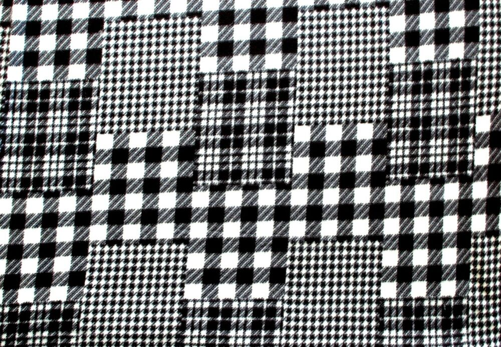Glacier Black And White Patch Plaid Fleece Fabric Material