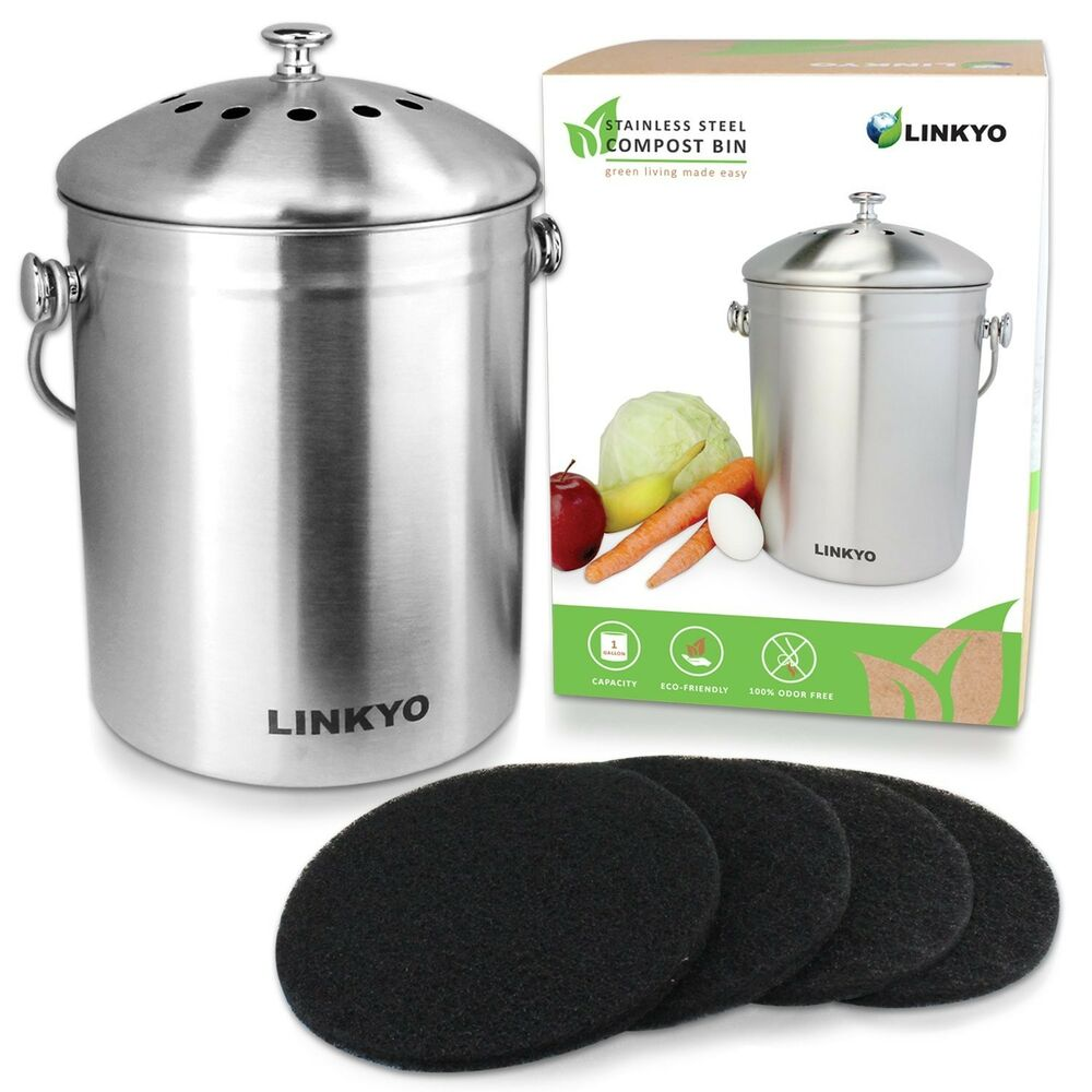 linkyo kitchen compost bin 1 gallon stainless steel