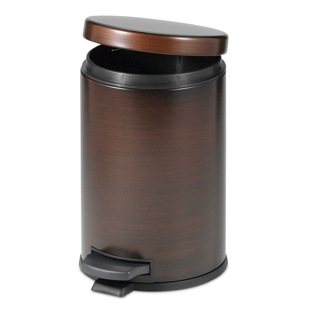 oil rubbed bronze touchless trash can step on wastebasket bathroom decor new ebay