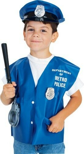 Kids boys police officer costume kit girl childs halloween child hat vest club ebay - Police officer child costume ...