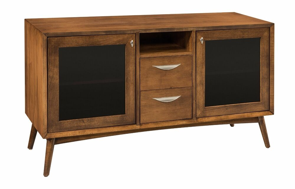 mid century tv cabinet amish mid century retro tv stand cabinet solid wood glass 23323