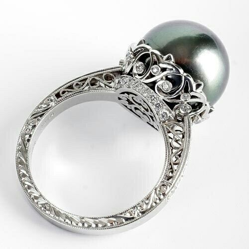Pearl Wedding Rings: 10 Ct Cocktail Party Ring Inspired 925 Sterling Silver